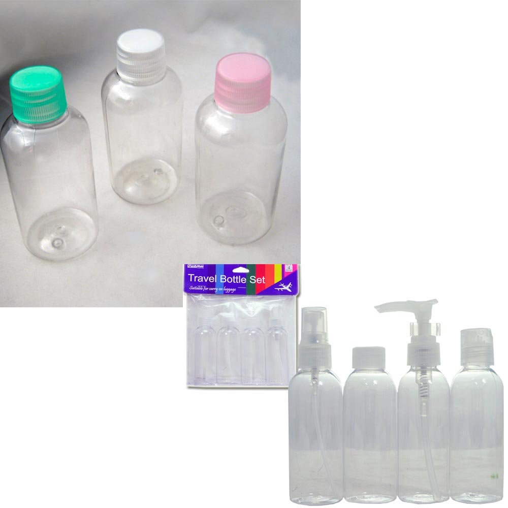 311e3b0bd6ab 3 Travel Bottles Jar Container Carry On TSA Liquid Storage Set Clear  Plastic New