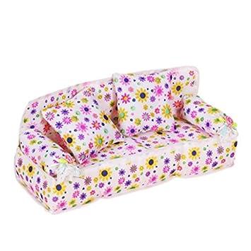 Puppenhaus Miniatur Möbel Blume drucken Sofa Couch  Amazon.de  Küche ... 973369db2d