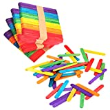 200 PCS Colorful Craft Sticks Popsicle Ice Pop Ice Cream Sticks Natural Wooden 4-1/2' Length Treat Sticks Jumbo Great for DIY Craft Creative Designs