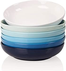 SWEEJAR Ceramic Pasta Bowls Set, 22 OZ for Salad, Soup, Cereal, Set of 6(Similarcolour)