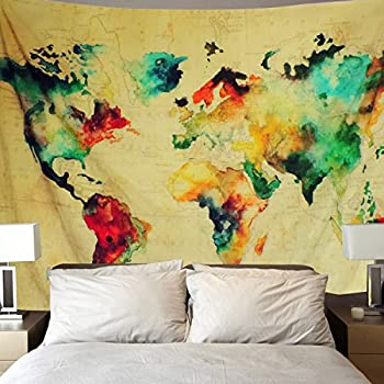 Amazon world map tapestry global map wall hanging retro art sunlightfree retro watercolor world map tapestry colorful map tapestry wall hanging bedroom living room dorm home decor tapestry small591 x 512 gumiabroncs Images