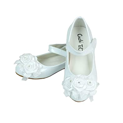 eb3b768ab Flower Girls White Formal Special Occasion Shoes, Party Wedding Communion  Ballet Flats (Infant 3