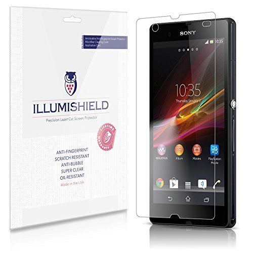 iLLumiShield Screen Protector Compatible with Sony Xperia Z (C6602,C6603,C6606)(3-Pack) Clear HD Shield Anti-Bubble and Anti-Fingerprint PET Film (Sony Xperia Z Screen Protector)