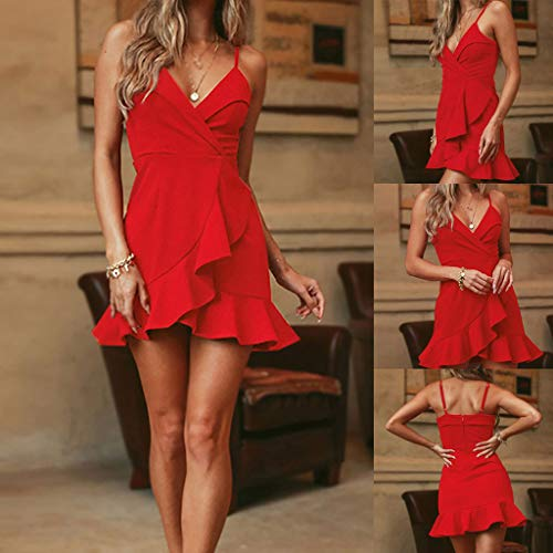 Lady Spring Special Style Clothes,Women Fashion Plus Size Sexy V-Neck Ruffles Sleeveless Camis Loose Dress by SUNSEE WOMEN'S CLOTHES PROMOTION (Image #2)
