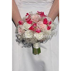 Pink Fresh Touch Rose & Ivory Foam Rose Bouquet w/ Sweetpea 110
