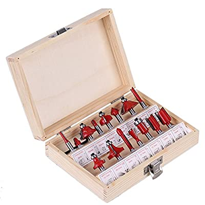 """CNBTR Professional 1/4"""" Shank Carbide Router Bit Set Milling Cutter Wood Case Tool Kit Pack of 15 by yqltd"""