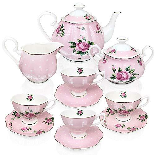 - Honeybeloved Tea Pot (38oz), Creamer and Sugar Set Floral Tea Set, Tea cups (8oz) 13 pc