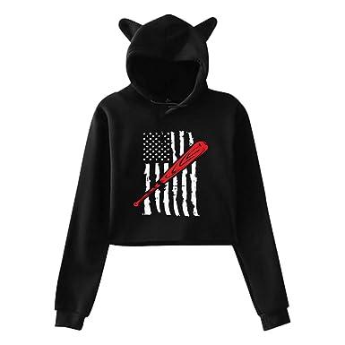 Womens Girls Cat Ear Pullover Hoodie Love Baseball Cropped Sweatshirts