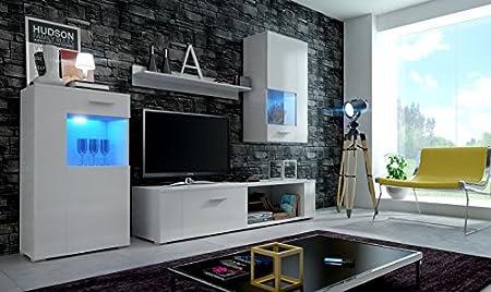 Moderno conjunto de muebles de salón EVE, muebles para sala de estar, modernos muebles modulares con Iluminación LED opcional (Cuerpo blanco mate/Frontales negro mate, LED Blanco): Amazon.es: Hogar