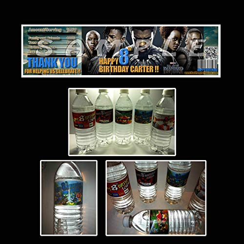 - Black Panther Set of Personalized Water Bottle Labels