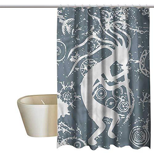 Denruny Shower Curtains Pink Hearts Kokopelli,Grunge Symbol Fertility,W72 x L84,Shower Curtain for Girls Bathroom