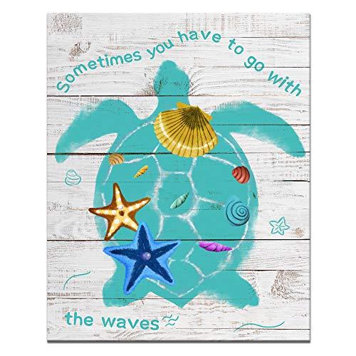 (Welmeco Rustic Picture Wall Art Green Sea Turtle with Starfish Shells Painting Printed on Canvas Modern Ocean Life Art for Guest Bedroom Home Decor Framed Animals Poster)
