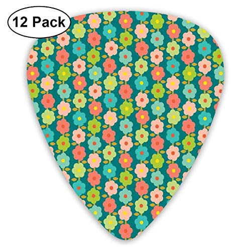 Guitar Picks 12-Pack,Cute Vibrant Spring Daisies Ornamental Feminine Style Chamomiles Pastel Pattern