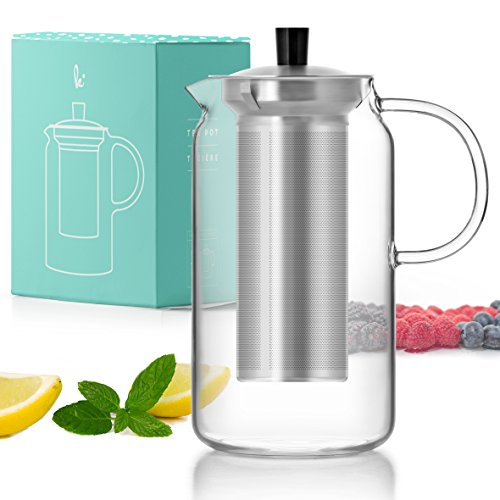 Glass Teapot Kettle with Infuser Set - Stovetop Warmer Tea Pot with Stainless Steel Strainer for Loose Leaf Tea (5 Cup, 40oz) by Kitchables