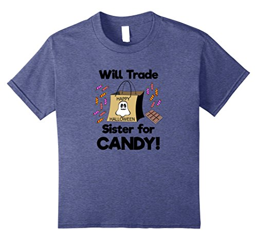 Cotton Candy Halloween Costumes (Kids Will Trade Sister for Candy! Halloween Costume T-Shirt 8 Heather Blue)