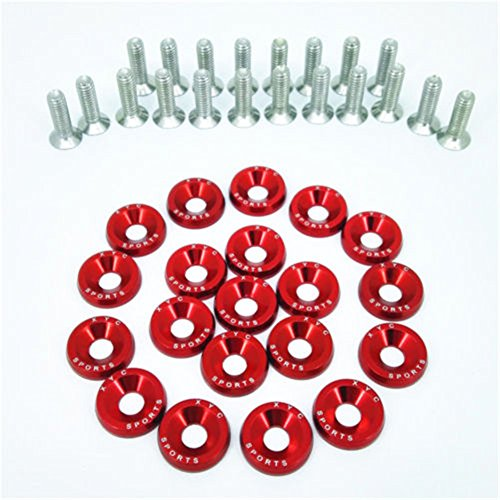 20 PCS XYC Sports Billet Aluminum Fender Washer Engine Bay Dress Up Kit CNC Billet Aluminum Fender Washer Engine Bay Dress Up Kit (Red) (Up Dress Engine Bolts)