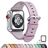 LOVLEOP Compatible Apple Watch Band,Full Grain Leather Band Replacement Strap with Stainless Steel Clasp for iWatch Series 3,Series 2,Series 1,Sport, Edition (Lightpurple, 42mm)
