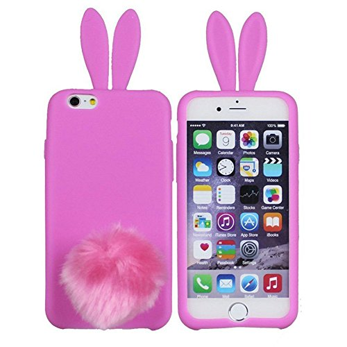 Furry Bunny (iPhone 6/6s Cover,Hecheng Cute Long Ear Rabbit with Furry Tail Silicone Bunny Case for Apple iPhone 6 4.7 inch-Rosered)