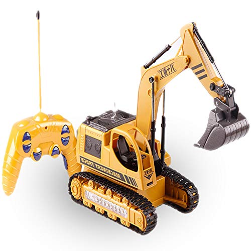 Remote Control Excavator Truck Toy for Toddlers,Kids RC Crawler Machinery Die cast Construction Equipment Vehicle 5CH 2.4G Alloy Engineering Digger Car Model with Flash Lights-Gifts for Infant Boys