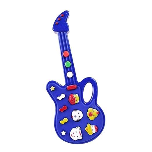 F-blue Plástico Mini Kids Música de la Guitarra eléctrica de Dibujos Animados Animal bebé a Aprender la Educación Juguetes para niños de Instrumentos ...