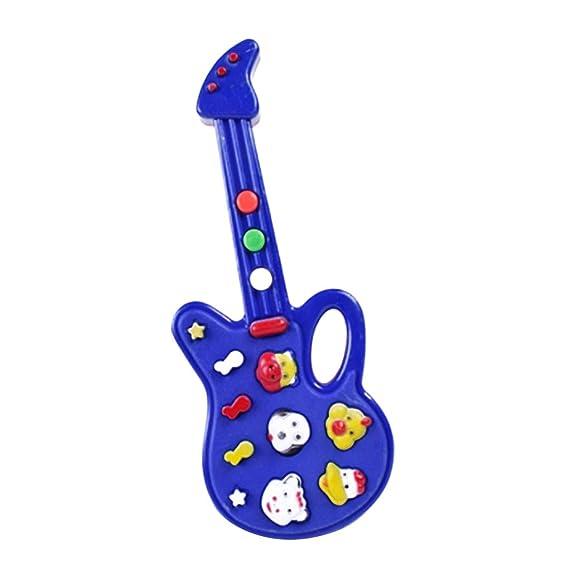 Fangfeen Plástico Mini Kids música eléctrica de la Guitarra de Dibujos Animados Bebé de Aprendizaje de Instrumentos Musicales Juguetes educativos (Color al ...
