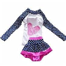 Baby Girls Kids Toddler 2 Pcs Long Sleever Polka Dots Swimsuit Rash Guard UPF 50+ UV