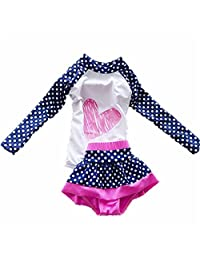 Baby Girls Kids Toddler 2 Pcs Long Sleever Polka Dots Swimsuit Rash Guard UPF 50+ UV