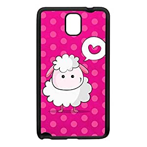 Cute Little Sheep on Pink Black Silicon Rubber Case for Galaxy Note 3 by UltraCases + FREE Crystal Clear Screen Protector