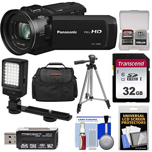 - Panasonic HC-V800 Wi-Fi Full HD Video Camera Camcorder with 32GB Card + Case + LED Light + Tripod Kit