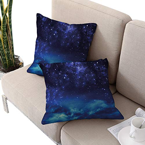 Night Sky Square futon Cushion Cover,Deep Outer Space Nebula Starry Milky Way Stars Clouds Foggy Artwork Dark Blue and Light Blue W14 xL14 2pcs Cushion Cases Pillowcases for Sofa Bedroom Car
