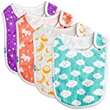 Baby Bibs Extra LARGE Toddler, Burp Cloth, Absorbent Feeding Reflux Drool Teething, Side Snap Button Unisex 4-Pack Gift Set for Boys and Girls
