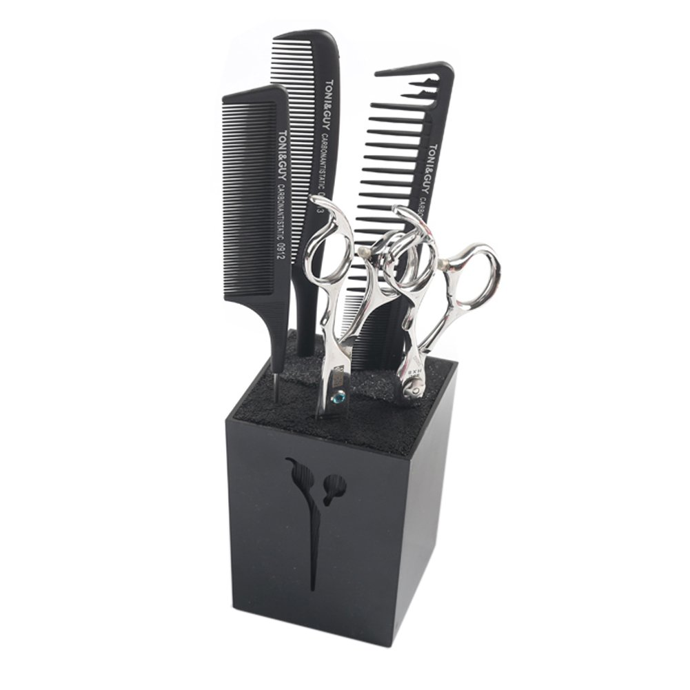 Olpchee Professional Creative Acylic Hairdressing Salon Scissors Combs Clamps Racks Organizer Holder Stand Box (Black)