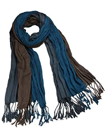 Dahlia Men's Rayon Triple Color Layer Fringed Scrunch Long Scarf - Teal/Brown