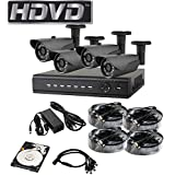 HDVD™ HVD-P-T47B 4 Channel HD-TVI CCTV DVR All in One Package Full HD 1080P HDMI Output Night Vision IR Indoor/Outdoor Bullet Pipe Camera 1TB HDD Installed