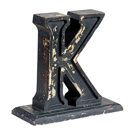 IntradeGlobal 0704WF K Decorative Letter K, 8'', Distressed Black by IntradeGlobal