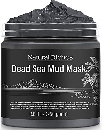 NATURAL RICHES Dead Sea Mud Mask for Face and Body - Natural Skin Care for Men and Women - Best Facial Cleansing Clay for Blackhead, Whitehead, Acne and Pores - 8.8 fl.Oz
