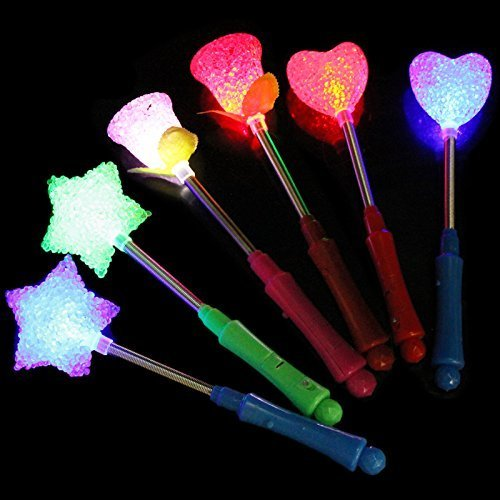 5 Pcs LED Flashing light up stick Multi Color Glow Stick Wand Party Concert Favor]()