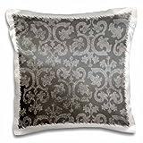 3dRose Grunge dark gray damask - silver grey faded antique vintage swirls wallpaper fancy swirling pattern - Pillow Case, 16 by 16-inch (pc_151435_1)