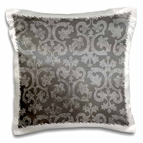 3dRose Grunge dark gray damask - silver grey faded antique vintage swirls wallpaper fancy swirling pattern - Pillow Case, 16 by 16-inch (pc_151435_1)