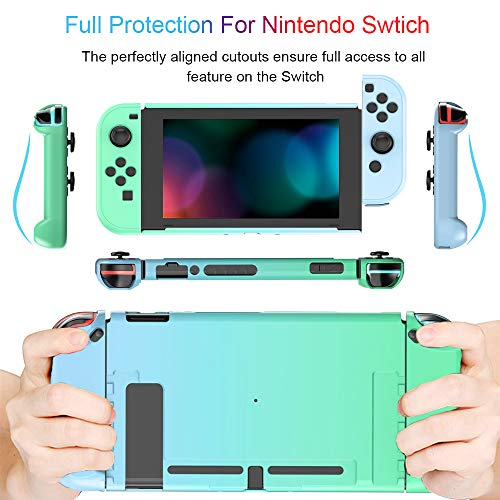 NPET SC20 Protective Case for Nintendo Switch, Shock-Absorption & Anti-Scratch Hard Handheld Grip Cover Case Compatible with Nintendo Switch Console and Joy-Con Controller (Green & Blue)