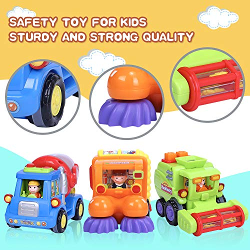 YEZI Kids Toys Friction Powered Push Back The Cars Toys for Boys - Construction Vehicles Toys Set for 1 2 3 Years Old Boys Toddlers Street Sweeper Truck, Cement Mixer Truck, Harvester Toy Truck