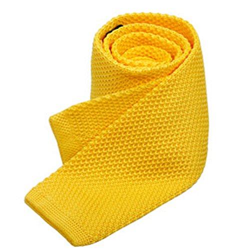 Men's 2'' Vintage Casual Formal Skinny Knit Tie Knitting Necktie (Light Yellow)