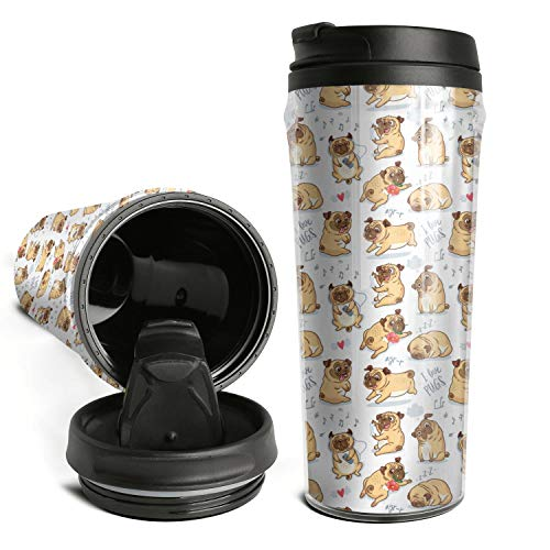 Woman Cute Iced Hot Double-wall Reusable Happy Pug Fest Collection Coffee Cup Travel Mug Set with Lids 16.9 OZ