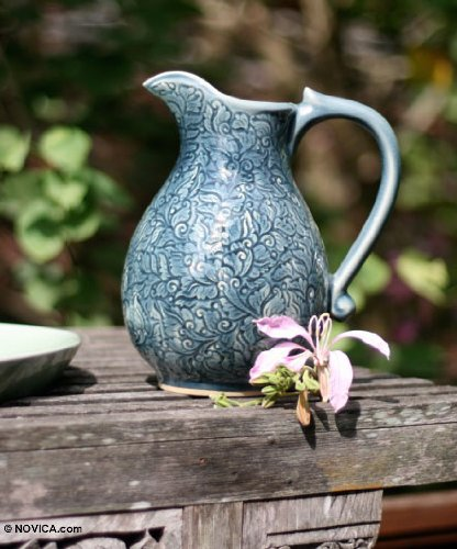 NOVICA Shabby Chic Ceramic Pitcher, Blue, 84 oz, 'Carved Jewel'