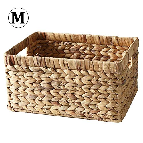 Labyrinen Simple Rustic Style Natural Straw Hand-Woven Rectangular Desktop Storage Basket Wicker Basket Storage Box for Newspaper Books Snacks Sundries Clothes