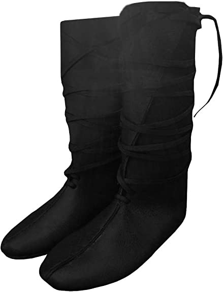 Ruanyu Womens Renaissance Vintage Boots Medieval Lace Up Cosplay Pirate Viking Tied Halloween Flat Boots