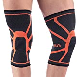 Mava Sports Knee Compression Sleeve Support (Pair) for Joint Pain & Arthritis Relief, Injury Recovery, Improved Circulation - Breathable Support for Running, Jogging, Walking and Recovery