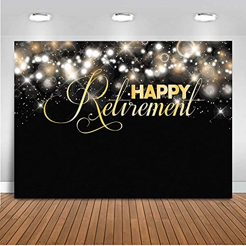 Mocsicka Retirement Party Backdrop 7x5ft Glitter Bubble Happy