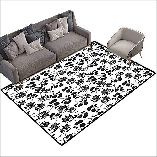 Large Floor Mats for Living Room Colorful Black and White,Romantic Botanical Garden with Rose and Lily Silhouettes Bridal,Charcoal Grey White 80