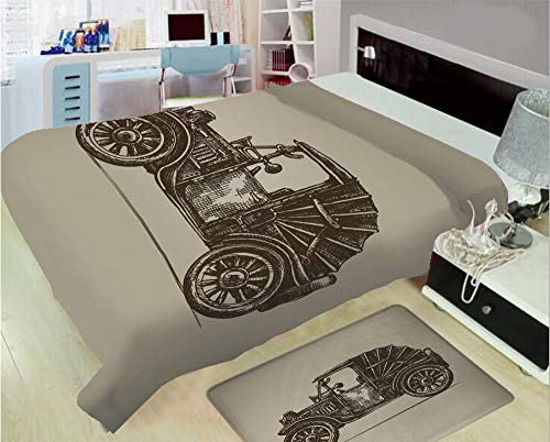 3D Printed Throw Blanket Custom Design Floor Mat Carpet Rug,Early Prototypes of Automobile Semi Convertible,Well Keep Warm with Supersoft Hand Feeling,add a lot of Color to Your Life